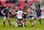 Sale Sharks lock Lood De Jager is held in the tackle during a Gallagher Premiership Round 14 Rugby Union match, Sunday, Mar 21, 2021, in Eccles, United Kingdom. (Steve Flynn/Image of Sport)