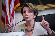 Washington, DC. Rep. Nancy Pelosi (D-CA) addresses union workers seeking higher minimum wage for work with government contractors. January 2013.