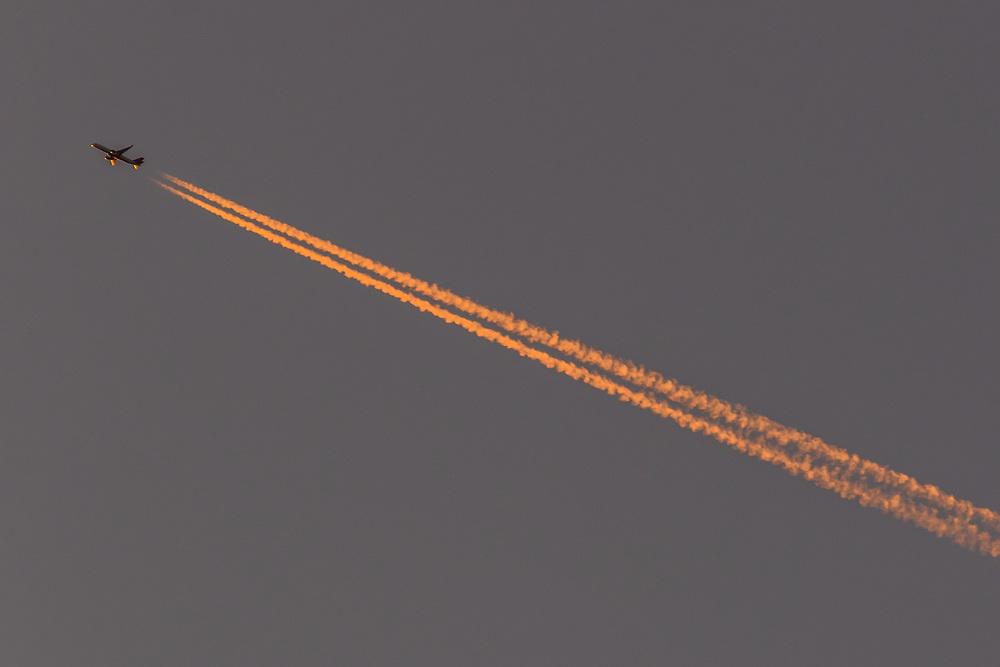 October 12, 2017: A jet overflies Morton Overlook during sunset.