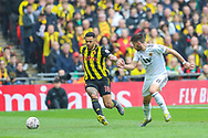 Watford forward Andre Gray (18) and Wolverhampton Wanderers midfielder Ruben Neves (8) during the The FA Cup semi-final match between Watford and Wolverhampton Wanderers at Wembley Stadium, London, England on 7 April 2019.