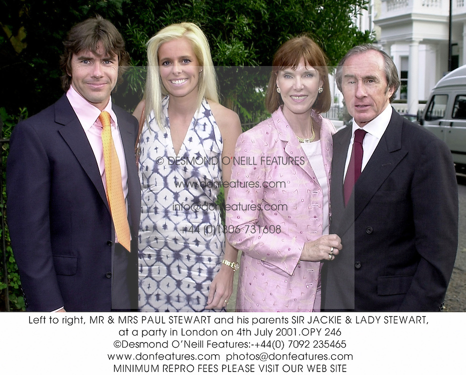 Left to right, MR & MRS PAUL STEWART and his parents SIR JACKIE & LADY STEWART, at a party in London on 4th July 2001.OPY 246