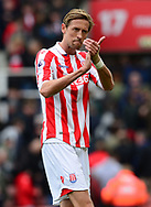 Peter Crouch of Stoke claps to the fans . Premier league match, Stoke City v West Ham Utd at the Bet365 Stadium in Stoke on Trent, Staffs on Saturday 29th April 2017.<br /> pic by Bradley Collyer, Andrew Orchard sports photography.