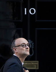 © Licensed to London News Pictures. 10/09/2020. London, UK. Government Chief Advisor Dominic Cummings waits to be let in to number 10 Downing Street. Later a second day of negotiations between the UK Government and the EU in will start in central London. Photo credit: Peter Macdiarmid/LNP