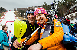 Lila Lapanja (USA) with heir father Vojko Lapanja after the race was cancelled due to soft snow and safety issues during 1st Run of the 8th Ladies' Slalom at 52nd Golden Fox - Maribor of Audi FIS Ski World Cup 2015/16, on January 31, 2016 in Pohorje, Maribor, Slovenia. Photo by Vid Ponikvar / Sportida