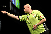 Michael van Gerwen during the Betway Premier League Darts Play-Offs at the O2 Arena, London, United Kingdom on 19 May 2016. Photo by Shane Healey.