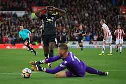 9 September 2017 -  Premier League - Stoke City v Manchester United - Romelu Lukaku of Manchester United reacts as Stoke City goalkeeper Jack Butland beats him to the ball - Photo: Marc Atkins/Offside