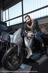 Great example of custom metal shaping at Motor Bike Expo. Verona, Italy. Thursday January 18, 2018. Photography ©2018 Michael Lichter.