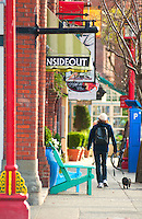 Stores feature home decor and interesting objects along Wharf Street in Victoria, BC