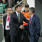 Bursaspor's coach Ertugrul SAGLAM (L) and Trabzonspor's coach Senol GUNES (R) during their Turkish soccer superleague match Bursaspor between Trabzonspor at Ataturk Stadium in Bursa Turkey on Saturday, 22 October 2011. Photo by TURKPIX