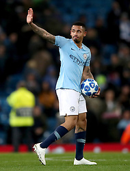 Manchester City's Gabriel Jesus collects the match ball after the final whistle