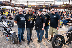 Mario Crim (L>R), Chris Callen, Dave Nichols, Mondo Poras, and Aaron Green at their Chopper Show at the Buffalo Chip Crossroads. Sturgis Motorcycle Rally. SD, USA. Saturday, August 7, 2021. Photography ©2021 Michael Lichter.