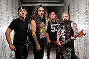 Portraits of pioneering thrash metal band Slayer photographed in 2009. Tom Araya, Jeff Hanneman, Kerry King, Dave Lombardo.