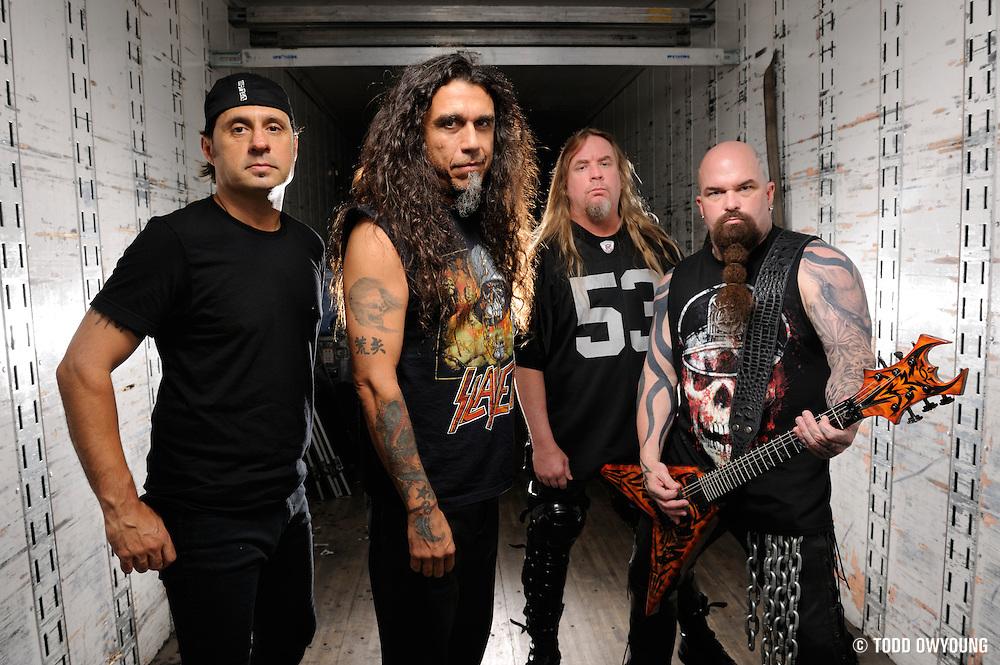 Portraits of pioneering thrash metal band Slayer photographed in 2009. Tom Araya, Jeff Hanneman, Kerry King, Dave Lombardo.