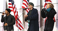 """John Legend, James Taylor and Sheryl Crow perform at the """"We Are One""""  The Obama Inaugural Celebration at the Lincoln Memorial on January 18, 2009.  Photo by Dennis Brack"""