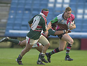 Twickenham, Surrey, England,  UK., 14/05/2003, WILL GREENWOOD, BREAKING THROUGH MID FIELD, WITH [L] FREDDIE TUILAGI , [R] JOSH KRONFELD, IN PURSUIT, during, the Zurich Premiership Rugby match, NEC Harlequins vs Leicester Tigers, played at the Stoop Memorial Ground, [Mandatory Credit: Peter Spurrier/Intersport Images]