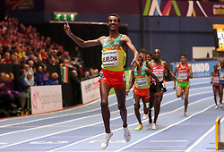 Ethiopia's Yomif Kejelcha wins gold in the Men's 3000 Metres final during day four of the 2018 IAAF Indoor World Championships at The Arena Birmingham.