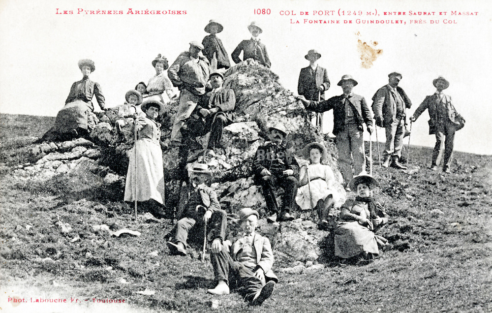 group mountain hiking in the Pyrenees 1900s