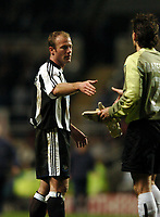 ALAN SHEARER NEWCASTLE UNITED SHAKES HANDS WITH PSV'S RONALD WATERREUS <br />NEWCASTLE UNITED V PSV EINDHOVEN 14/04/04 UEFA CUP<br />PHOTO ROBIN PARKER FOTOSPORTS INTERNATIONAL