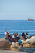 People by the mediterranean at Sousse, Tunisia