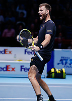 Tennis - 2019 Nitto ATP Finals at The O2 - Day Seven<br /> <br /> Doubles Semi Finals : Raven Klaasen (RSA) & Michael Venus (NZL) Vs. Juan Sebastien Cabal (COL) & Robert Farah (COL) <br /> <br /> Michael Venus (NZL) celebrates after his team secure a place in the final <br /> <br /> <br /> COLORSPORT/DANIEL BEARHAM