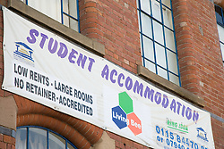 Banner advertising student accommodation in the Mill Square building; a recently restored former Victorian textiles warehouse in the city of Nottingham,