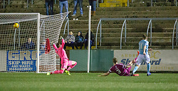 Forfar Athletic's Lewis Moore (11) scoring their first goal. Forfar Athletic 2 v 3 Arbroath, Scottish Football League Division One played 8/12/2018 at Forfar Athletic's home ground, Station Park, Forfar.
