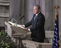 Former United States President George W. Bush delivers the eulogy at the National funeral service in honor of the late former United States President George H.W. Bush at the Washington National Cathedral in Washington, DC on Wednesday, December 5, 2018.<br /> Photo by Ron Sachs / CNP/ABACAPRESS.COM