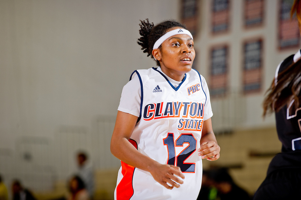 Nov. 13, 2012; Morrow, GA, USA; Clayton State women's basketball player Drameka Griggs during an exhibition game against the CSU alumni at CSU. Photo by Kevin Liles/kdlphoto.com