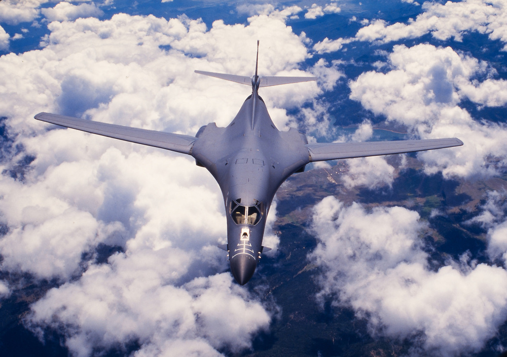 "The Rockwell B-1 Lancer is a supersonic variable-sweep wing, heavy bomber used by the United States Air Force . It is commonly called the ""Bone"" (from ""B-One""). It is one of three strategic bombers in the USAF fleet as of 2017, the other two being the B-2 Spirit ""Stealth Bomber"", and the B-52 Stratofortress.<br />