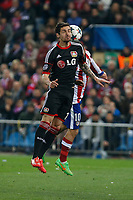 Atletico de Madrid´s /at and Bayer 04 Leverkusen´s Hilbert during the UEFA Champions League round of 16 second leg match between Atletico de Madrid and Bayer 04 Leverkusen at Vicente Calderon stadium in Madrid, Spain. March 17, 2015. (ALTERPHOTOS/Victor Blanco)
