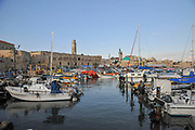 Israel, western Galilee, Acre, The ancient Harbour now a fishing port. The Old Town in the background