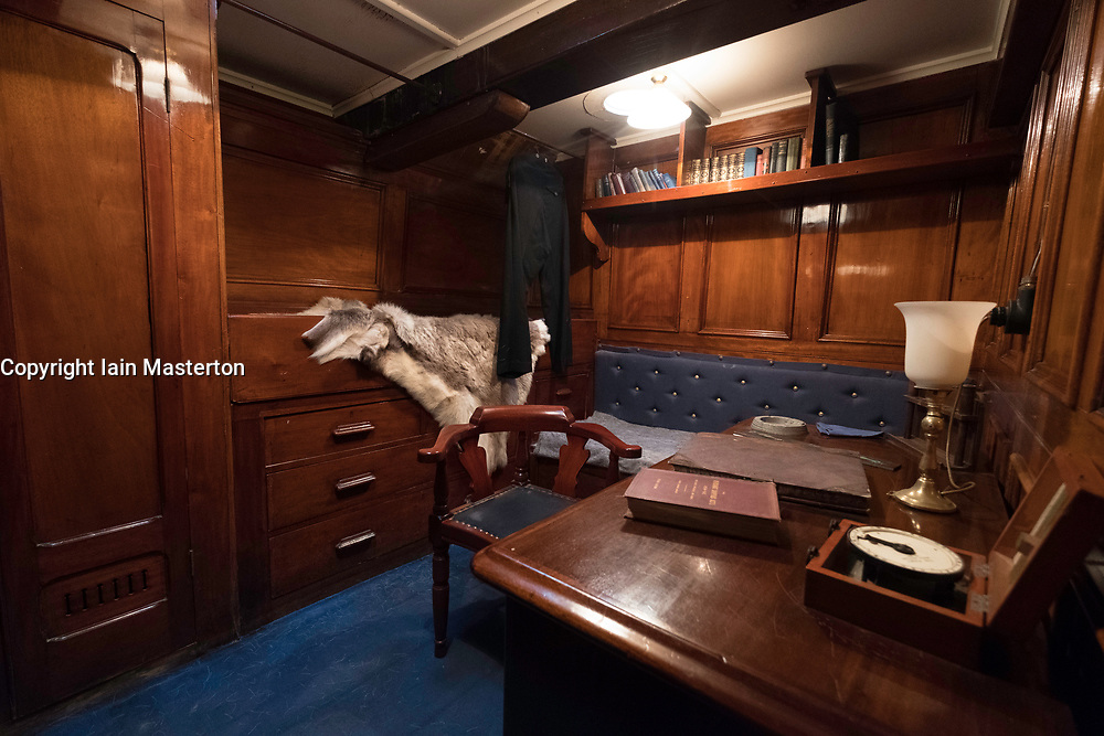 Interior of Captain Scott's cabin on the RSS Discovery ship berthed at Discovery Point in Dundee ,Tayside, Scotland,