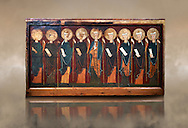 The 12th century Romanesque Altar front from the church of the monastery of St. Sernin Tavèrnoles (Les Valls de Valira Alt Urgell). Tempera on wood. National Art Museum of Catalonia, Barcelona. MNAC 15786 .<br /> <br /> If you prefer you can also buy from our ALAMY PHOTO LIBRARY  Collection visit : https://www.alamy.com/portfolio/paul-williams-funkystock/romanesque-art-antiquities.html<br /> Type -     MNAC     - into the LOWER SEARCH WITHIN GALLERY box. Refine search by adding background colour, place, subject etc<br /> <br /> Visit our ROMANESQUE ART PHOTO COLLECTION for more   photos  to download or buy as prints https://funkystock.photoshelter.com/gallery-collection/Medieval-Romanesque-Art-Antiquities-Historic-Sites-Pictures-Images-of/C0000uYGQT94tY_Y