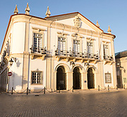 Historic facade of the district council municipal building in the old walled town area of Faro, Algarve, Portugal