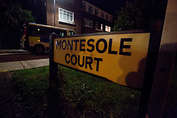 © Licensed to London News Pictures. 27/08/2020. London, UK. The crime scene at Montesole Playing Fields in Pinner, Harrow, west London. Met Police were called yesterday at 6:07 pm after a young man was stab multiple times. The man is in hospital fighting for his life after he was flown to hospital by London's Air Ambulance. The attack comes after a 20 year old man was left in a life threading conditions after he was stabbed yesterday afternoon in New Addington, Croydon. Photo credit: Marcin Nowak/LNP
