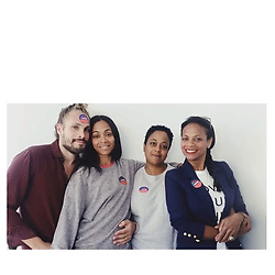 """Zoe Saldana releases a photo on Instagram with the following caption: """"Join us! \nPost a video/photo of why you are voting. Tag @zoesaldana w/ #votewithus. \nI\u2019ll be sharing some of my favorites video! \ud83d\uddf3 \ud83c\uddfa\ud83c\uddf8"""". Photo Credit: Instagram *** No USA Distribution *** For Editorial Use Only *** Not to be Published in Books or Photo Books ***  Please note: Fees charged by the agency are for the agency's services only, and do not, nor are they intended to, convey to the user any ownership of Copyright or License in the material. The agency does not claim any ownership including but not limited to Copyright or License in the attached material. By publishing this material you expressly agree to indemnify and to hold the agency and its directors, shareholders and employees harmless from any loss, claims, damages, demands, expenses (including legal fees), or any causes of action or allegation against the agency arising out of or connected in any way with publication of the material."""
