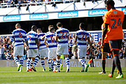 QPR players celebrate a goal (score 2-0) during the EFL Sky Bet Championship match between Queens Park Rangers and Reading at the Loftus Road Stadium, London, England on 5 August 2017. Photo by Andy Walter.