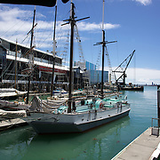 The Historic Scow which sails for tourists form the NZ Maritime Museum, on the Auckland Harbour. Auckland, New Zealand, 3rd November 2010. Photo Tim Clayton