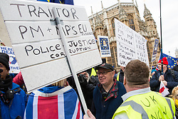 London, UK. 29th January, 2019. Rival pro- and anti-Brexit protests outside Parliament on the day of votes in the House of Commons on amendments to the Prime Minister's final Brexit withdrawal agreement which could determine the content of the next stage of negotiations with the European Union.