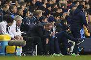 Steve McClaren, the Newcastle United manager  throws a bottle of water on the ground out of frustration during the 2nd half. Barclays Premier league match, Tottenham Hotspur v Newcastle Utd at White Hart Lane in London on Sunday 13th December 2015.<br /> pic by John Patrick Fletcher, Andrew Orchard sports photography.