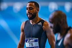 Christopher Garia after the 60 meters during limit matches to be held simultaneously with the Dutch Athletics Championships on 13 February 2021 in Apeldoorn