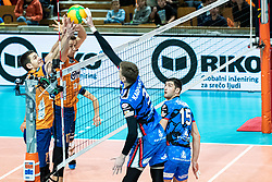 Vilimanovic Andrija of ACH Volley and Videcnik Matic of ACH Volley in block during volleyball match between ACH Volley Ljubljana (SLO) and Kuzbas Kemerevo (RUS) n 2nd Round, group B of 2019 CEV Volleyball Champions League, on December 11, 2019 in Hala Tivoli, Ljubljana, Slovenia. Grega Valancic / Sportida