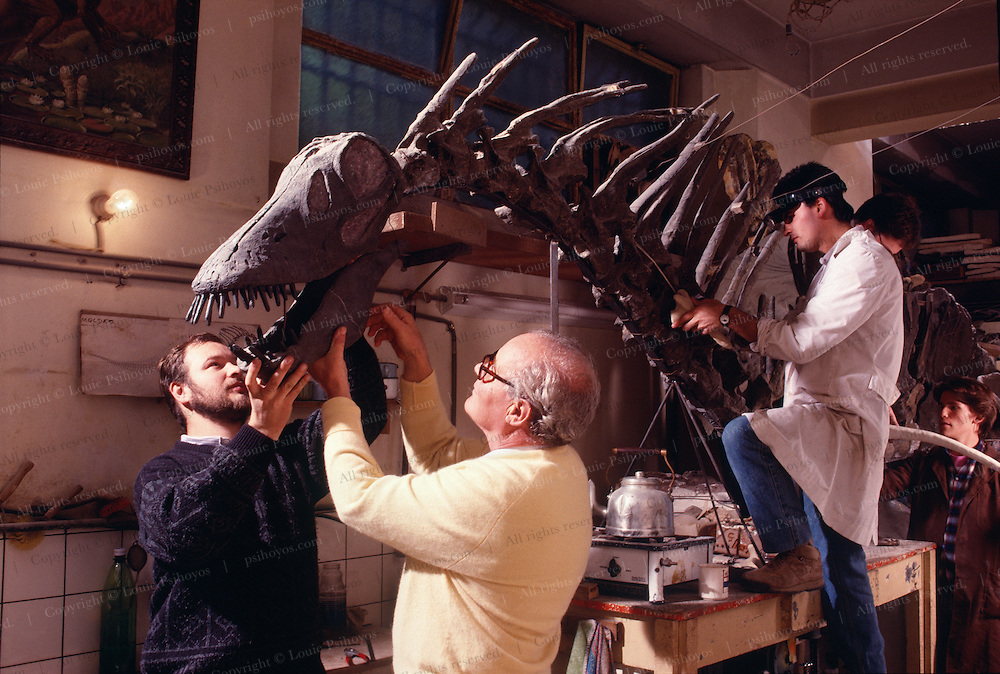 """Jose Bonaparte with Amargasaurus, a """"jibbed"""" sauropod from the Argentina at the Museo de Ciencias Naturales de Buenos Aires.  Discoverer was Guillermo Rougier, left."""