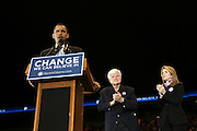 Senator Barack Obama and Senator Edward Kennedy and Caroline Kennedy at Presidental Candidate Barack Obama Rally at The Izod Center at the Meadowlands in New Jersey on February 4, 2008
