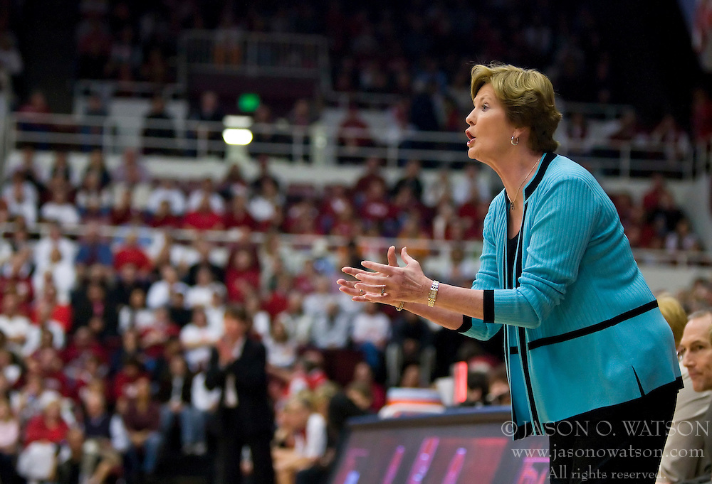 December 19, 2009; Stanford, CA, USA;  Tennessee Lady Volunteers head coach Pat Summitt during the first half against the Stanford Cardinal at Maples Pavilion.  Stanford defeated Tennessee 67-52.