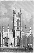 New Church, Somers Town, engraving 'Metropolitan Improvements, or London in the Nineteenth Century' London, England, UK 1828 , drawn by Thomas H Shepherd