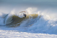 Sam Scadgell surfing at Freshwater Bay on the isle of wight today <br /> Freshwater Bay<br /> Isle of Wight<br /> 03 - 01 - 2020 Surfing at Freshwater Bay, Isle of Wight on the 4th January 2020