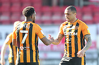Hull City's Josh Magennis celebrates scoring his side's first goal  with Mallik Wilks<br /> <br /> Photographer Mick Walker/CameraSport<br /> <br /> The EFL League 1 - Crewe Alexandra v Hull City  - Friday 2nd April  2021 - Alexandra Stadium-Crewe<br /> <br /> World Copyright © 2020 CameraSport. All rights reserved. 43 Linden Ave. Countesthorpe. Leicester. England. LE8 5PG - Tel: +44 (0) 116 277 4147 - admin@camerasport.com - www.camerasport.com