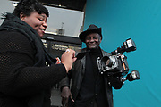 April 8, 2018-New York, New York-United States: (L-R) Photographers Nina Robinson and Louis Mendes attend the Photography Show presented by AIPAD held at Pier 94 on April 8, 2018 in New York City. The Photography Show, held at Pier 94, is the longest-running and foremost exhibition dedicated to the photographic medium, offering contemporary, modern, and 19th century photographs as wells photo-based art, video and new media.(Photo by Terrence Jennings/terrencejennings.com)
