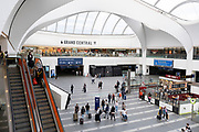 As numbers of Covid-19 cases in Birmingham have increased dramatically in recent weeks, and with the expectation that the city will be added to the watch list of critical areas which may face a local lockdown, very few people continue to use Grand Central station for travel on 18th August 2020 in London, United Kingdom. With other areas in the Midlands under localised lockdown, people and businesses are being urged to follow the Coronavirus advice for workplace and family life help reduce the risk.